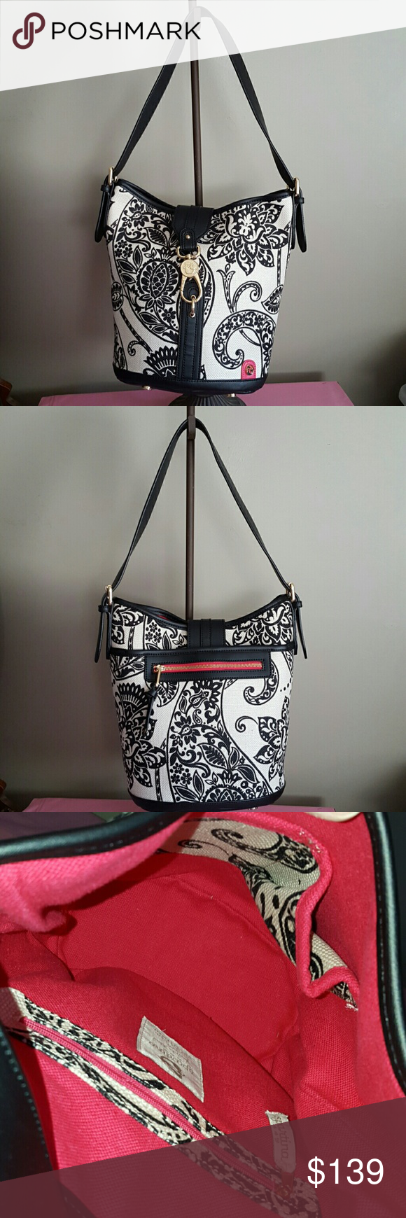 SPARTINA NATURAL LINEN BUCKET TOTE Trimmed in leather with gold hardware this is a beautiful black and cream color tote.  The interior color is actually hot pink,  not orange.  Adjustable strap.  Minimal wear.  Flawless condition.   No stains, tears or odors. Bags Shoulder Bags