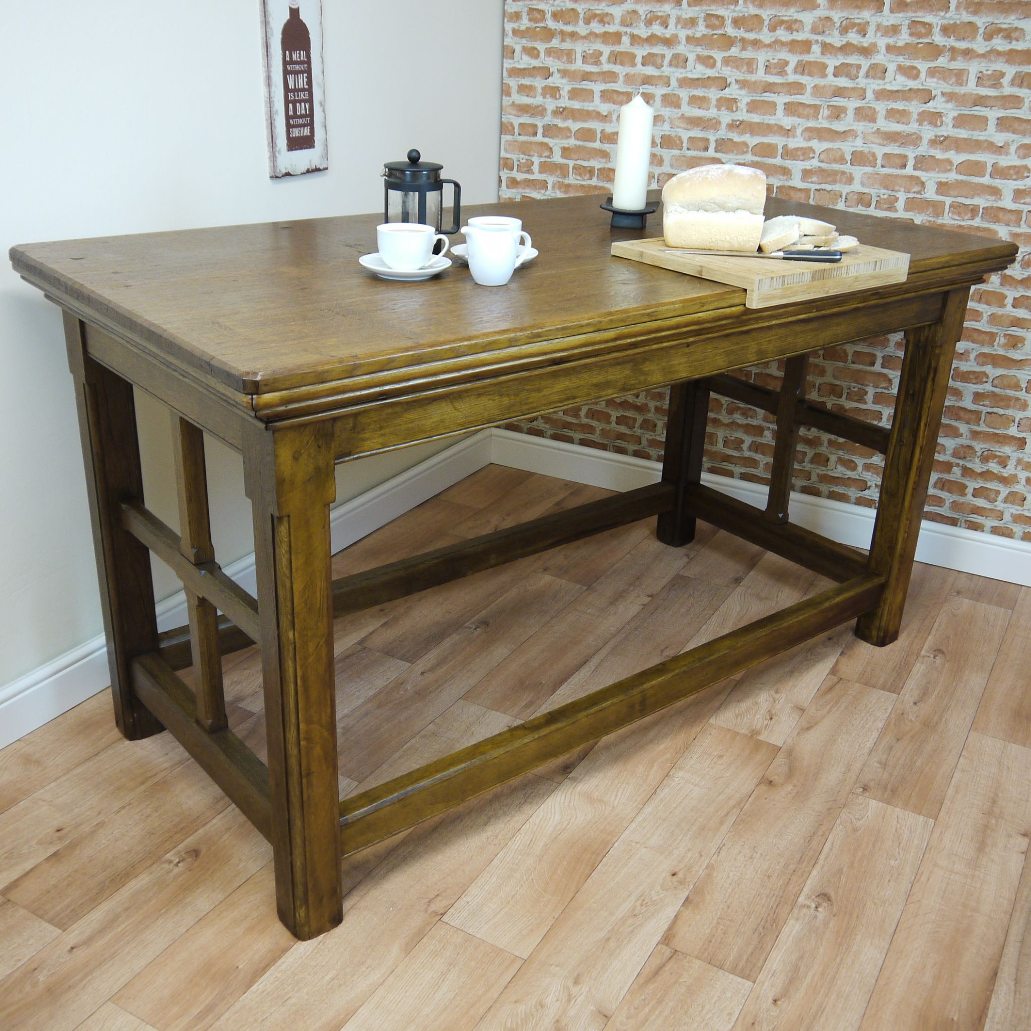 Antique Tall Solid Oak Table Stunning oak kitchen island table ...