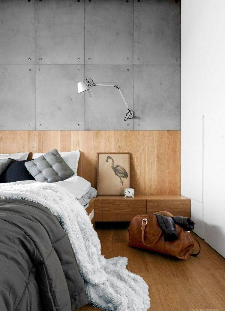 Schlafzimmer Design Mit Holz Und Beton Wohnideen Furs Schlafzimmer