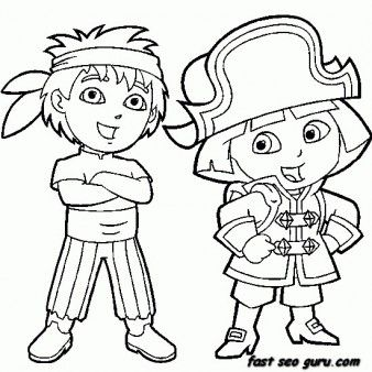 Printable Dora the Explorer and Diego dressed as pirate coloring ...