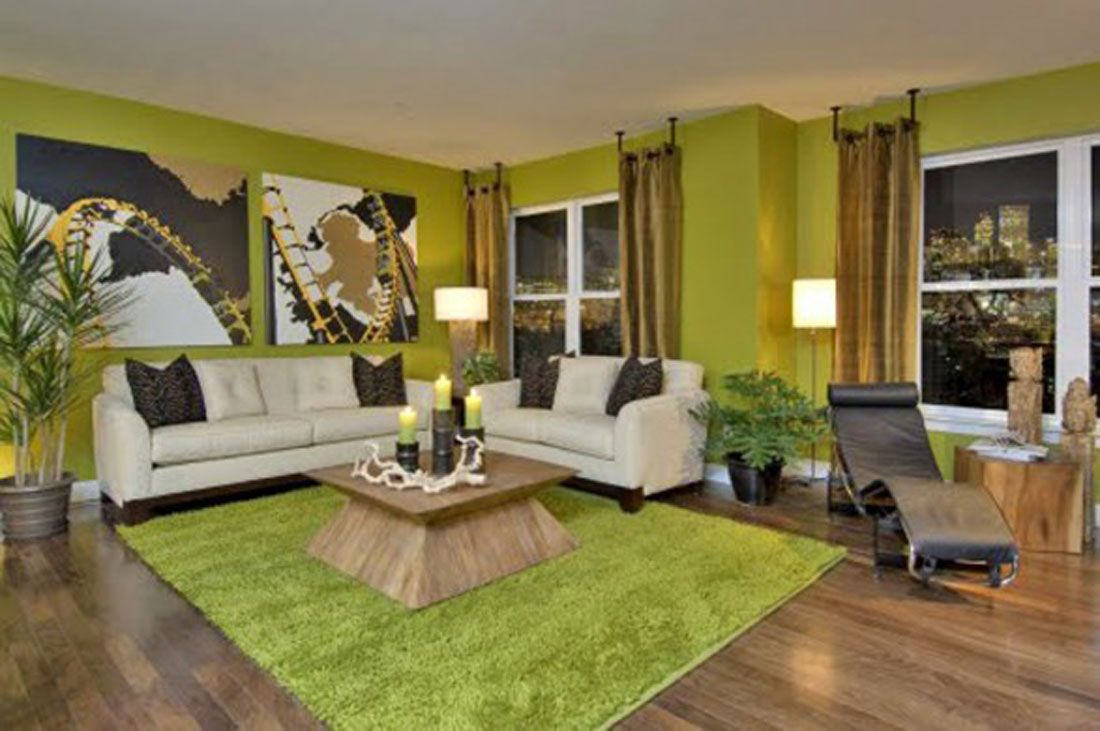 classic green wall living room paint interior design applications corbusier lounge and zen rug - Interior Design Applications