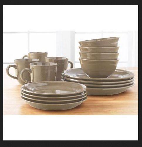 32 Piece Dinnerware Set Dining Service for 8 Stoneware Bowl Mug Plates Beige #Mushroom & 32 Piece Dinnerware Set Dining Service for 8 Stoneware Bowl Mug ...