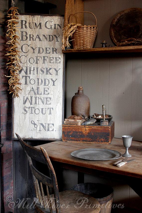Reproduction 18th c Colonial Tavern Menu Wooden Sign | Cosas ...