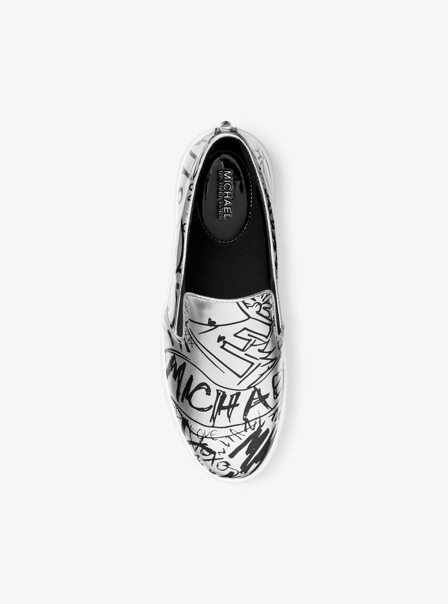 446a3e4139e75 Keaton Metallic Graffiti Leather Slip-On Sneaker by Michael Kors ...
