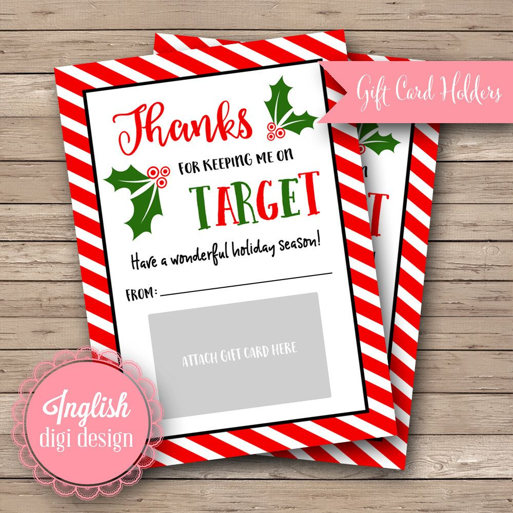 Printable 5x7 Holly Gift Card Holders, Merry Christmas, Happy ...