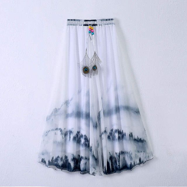 a08b7a90ea1 Fancy Flower Print Women Pleated Skirt Elastic Waist Long Chiffon Skirt for Women  Plus Size Bohemian Skirt Saia Faldas Spring