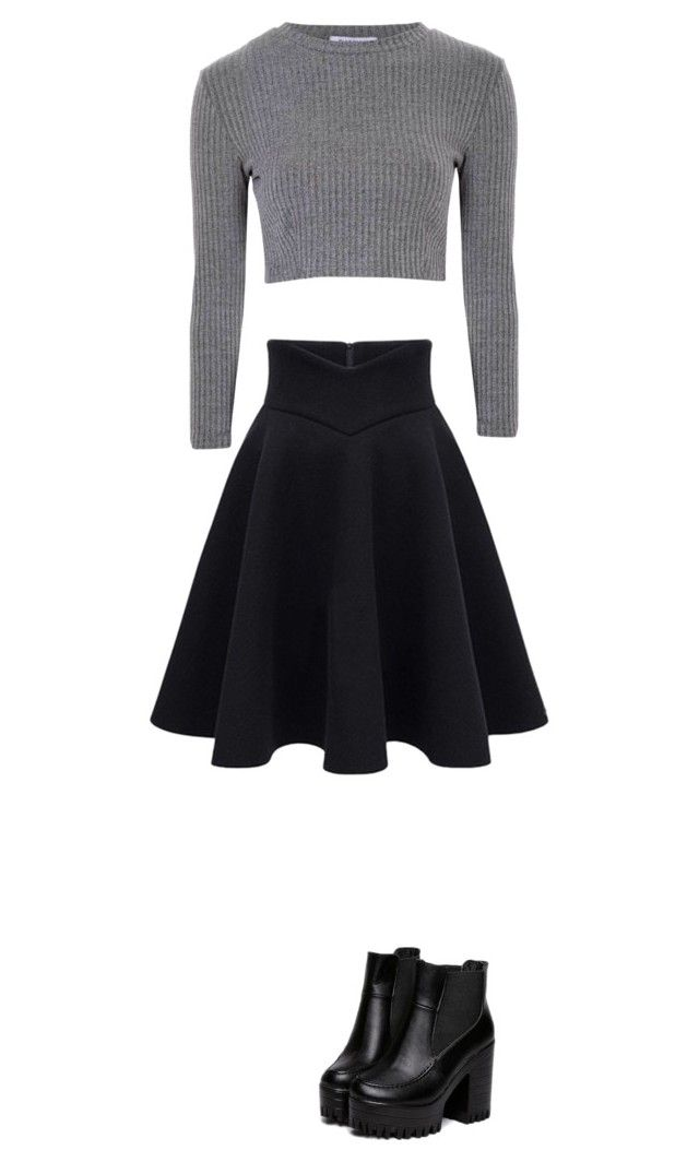 """skater skirt and crop top"" by lorrinda-farrell ❤ liked on Polyvore featuring Glamorous"
