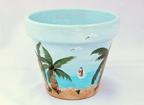 Hand Painted Flower Pot Beach Theme Painted Plant Pots Painted