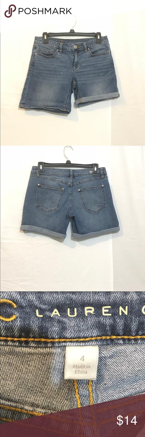 "Lauren Conrad 4.5"" Denim Roll Tab Shorts Fashion"