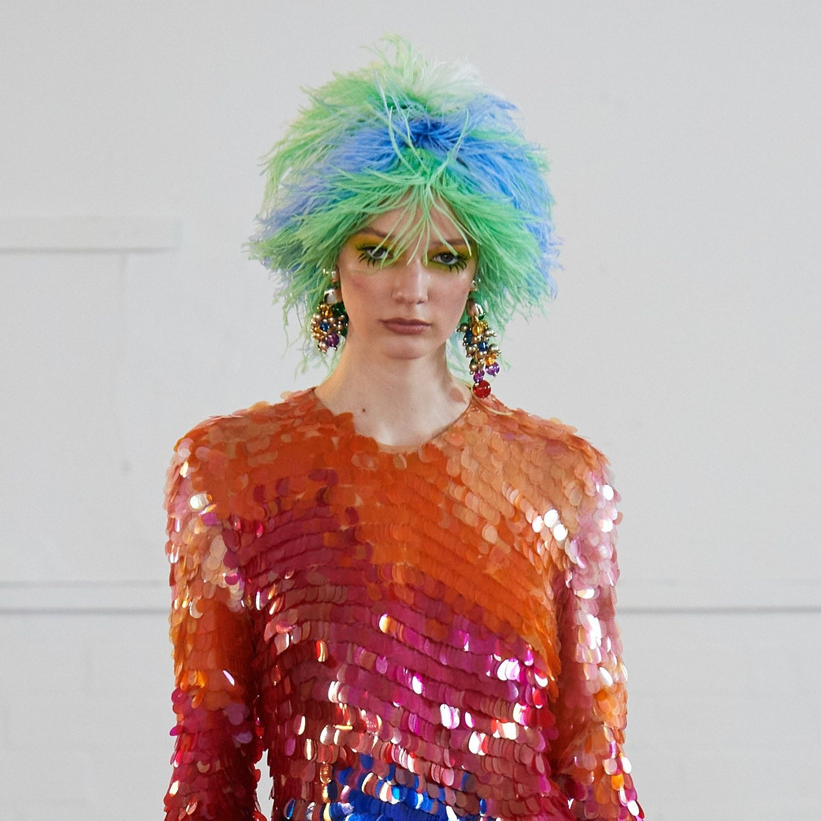 Feather Wigs anyone Loving the details RTW Fall 2020 Ashish