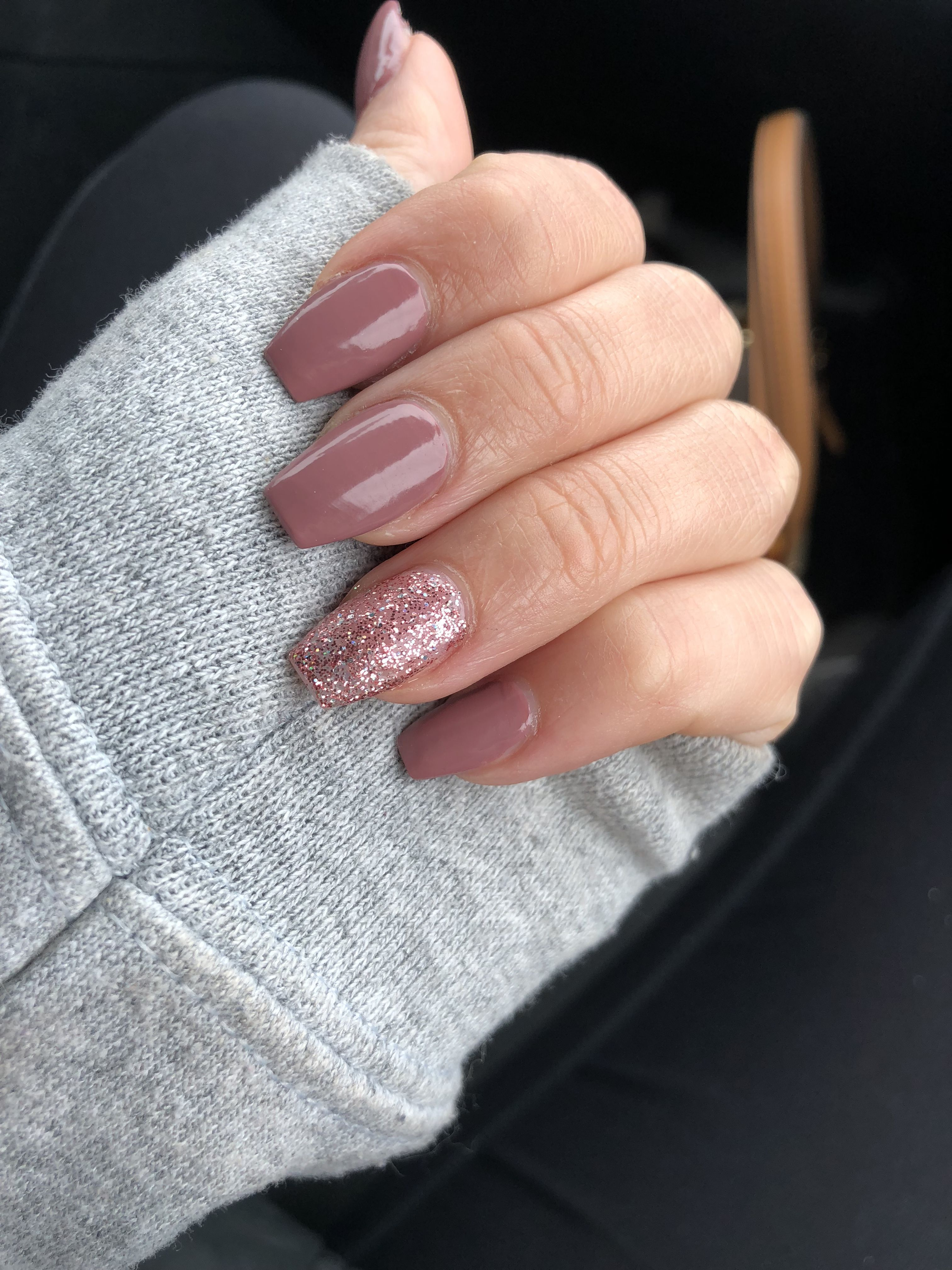 Acrylic coffin Nails Mauve pink glitter | Nails | Pinterest | Coffin ...