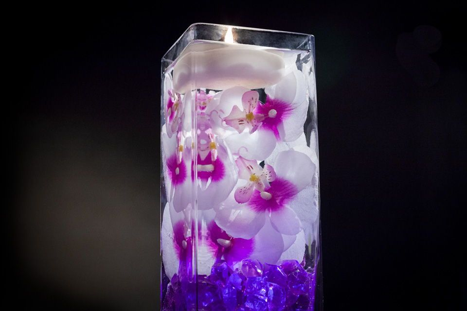 Violet Fl Centerpiece With Led Lights And Floating Candles