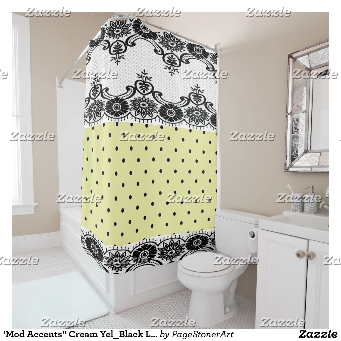 Contempo Villa Yellow Polka Dots Black Lace Shower Curtain