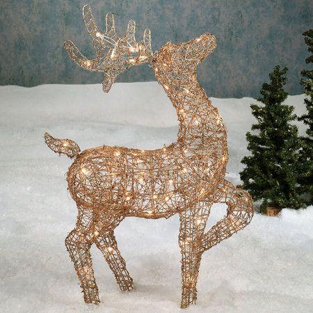 Rattan Deer Lighted Sculpture Outdoor Soft Reindeer Decorations Christmas