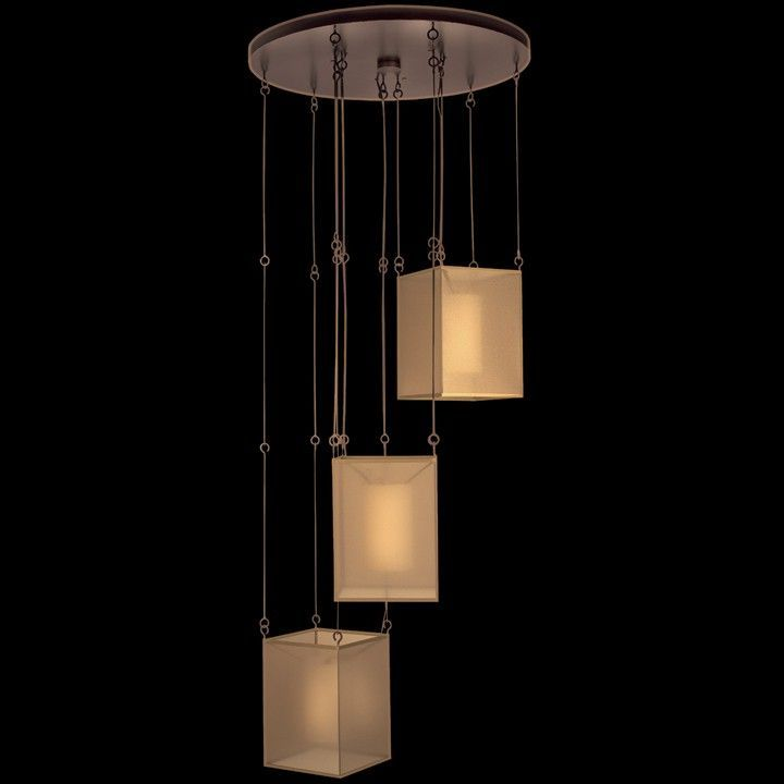 QUADRALLI by Fine Art Lamps. Distinctive drop light in rich bourbon finish with golden highlights. Hand-tailored shade features interior of ivory crepe suspended within a shimmering screen of bronze organza. Lighting We Love at Design Connection, Inc. | Kansas City Interior Design