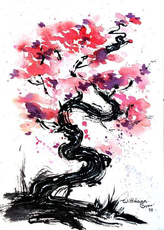 Sakura Blossom Pink Flower And Black Black Tree Trunk Painting Impressionistic Style Watercolor Artwork Japanese Cherry Tree Original Watercolour Art From Cherry Blossom Art Sakura Art Sakura Painting