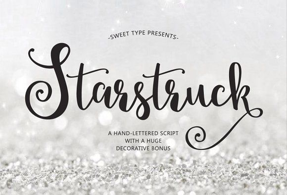 Starstruck Hand Lettered Script By Emily Spadoni On Creativemarket Fonts Typography Cursive Branding Graphic Design Calligraphy Logo Font