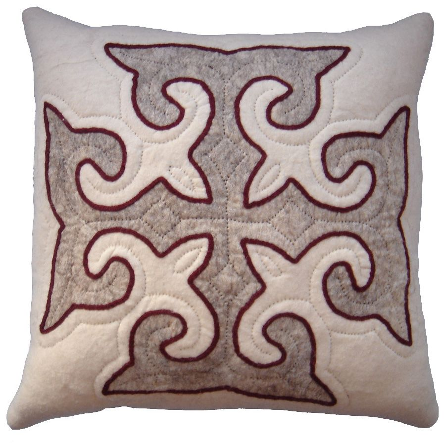 Stylish neutral cushion from Felt - White, grey and red trim. http ...