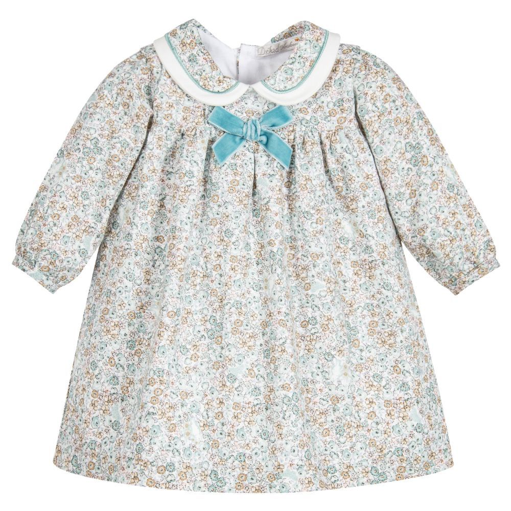 Baby Girls Green Floral Dress  Green floral dress and Babies