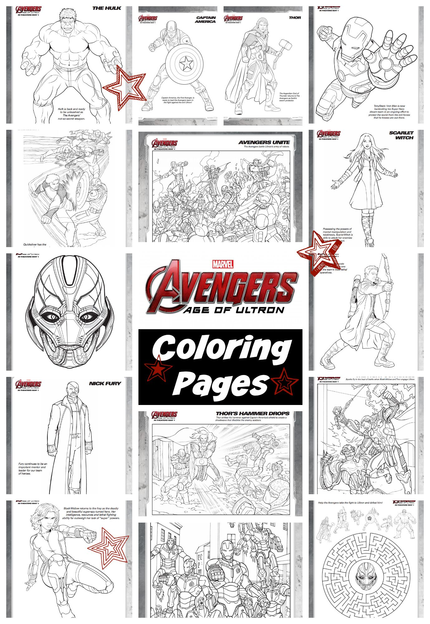 Free coloring pages for avengers - Avengers Age Of Ultron Coloring Pages