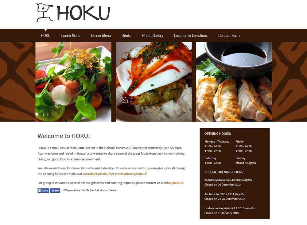 Ravintola Hoku sai uudet kotisivut Kotisivukoneen Avaimet käteen -palvelun avulla.