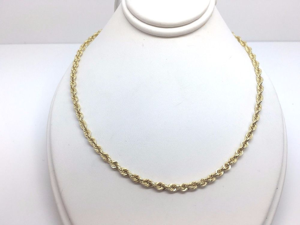 10k Yellow Gold 2 85mm 20 Rope Chain 10 6 Grams Pendant Necklace Yellow Gold Chain Pendants