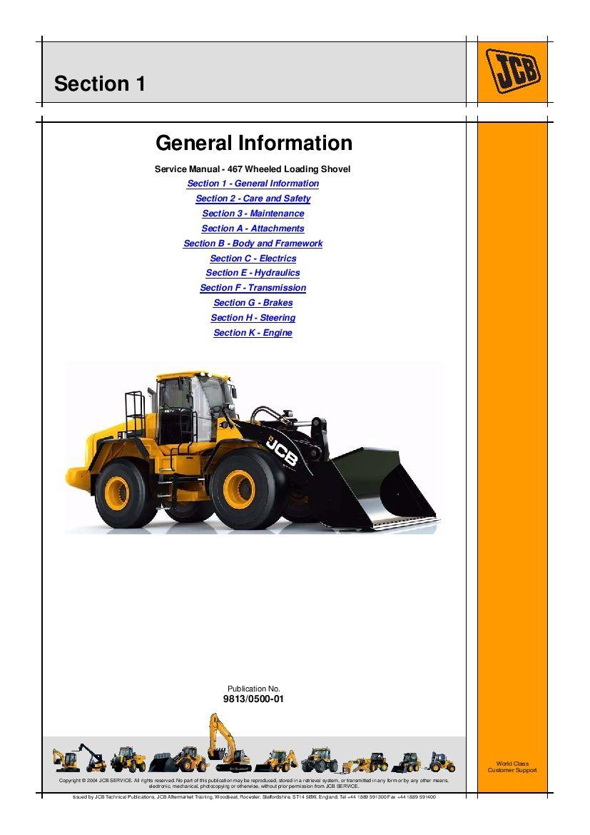 Jcb 467 Wheeled Loading Shovel Workshop Repair Service Manual Pdf Download Repair Manuals Manual Repair