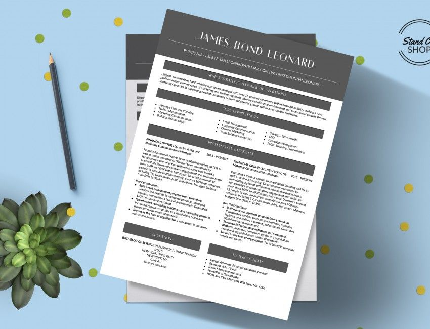 James Bond Leonard Resume Template  Stand Out Shop  James Bond