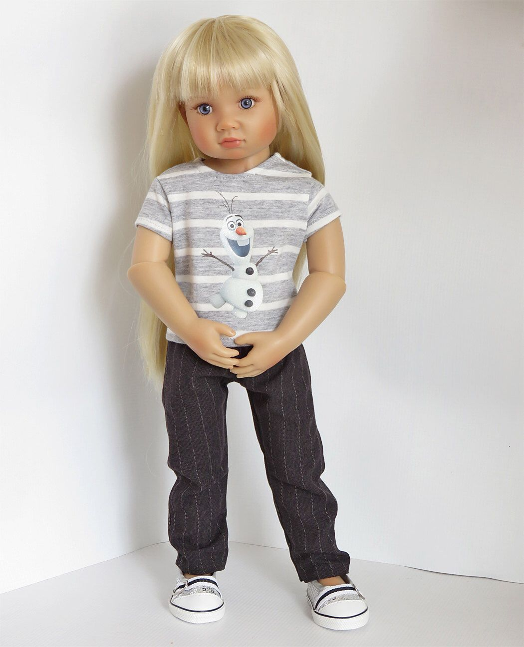 Grey Striped Frozen Olaf Top and Black Pinstripe Pants.   Fits Kidz 'n' Cats Dolls and Magic Attic Dolls by SillyMonkeyInc on Etsy https://www.etsy.com/listing/229680568/grey-striped-frozen-olaf-top-and-black