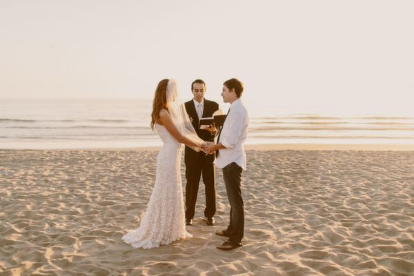 Intimate Beach Wedding On The Sand Simple Dress Veil Gina Ryan Photography