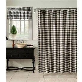 Classic Check Midnight Black and Cream Fabric Shower Curtain and