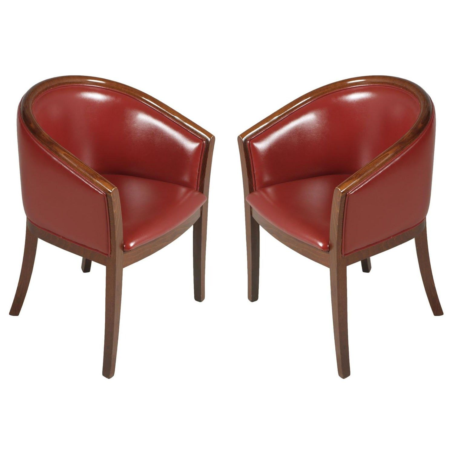 1930s Art Deco Pozzetto Pair Armchairs Loung Chairs Walnut Leather Bordeaux Red Armchair Chair Leather Chair