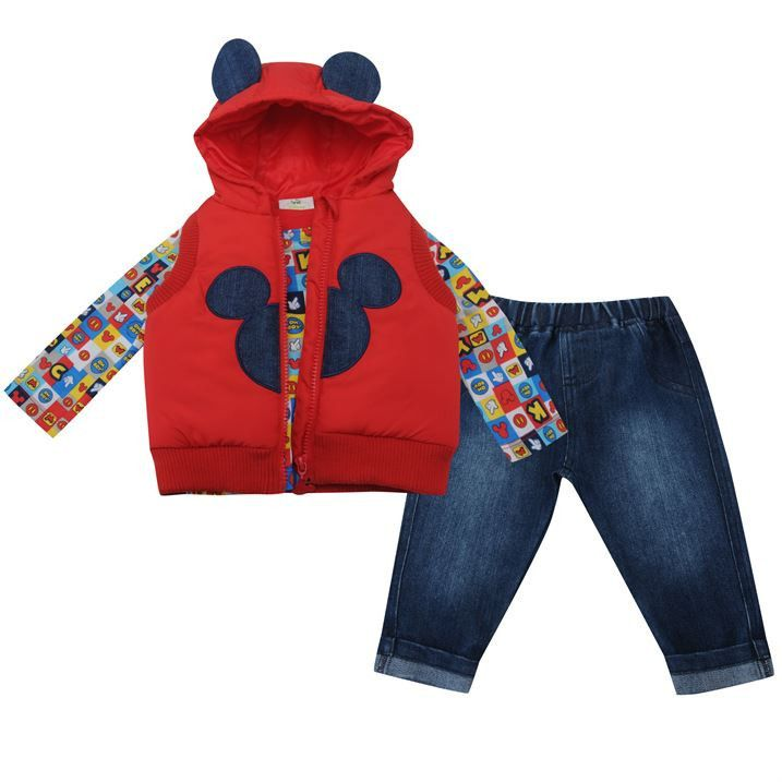 Disney Baby Boy Mickey Mouse Hooded Gilet T Shirt & Jeans Outfit Set - Disney Baby Boy Mickey Mouse Hooded Gilet T Shirt & Jeans Outfit