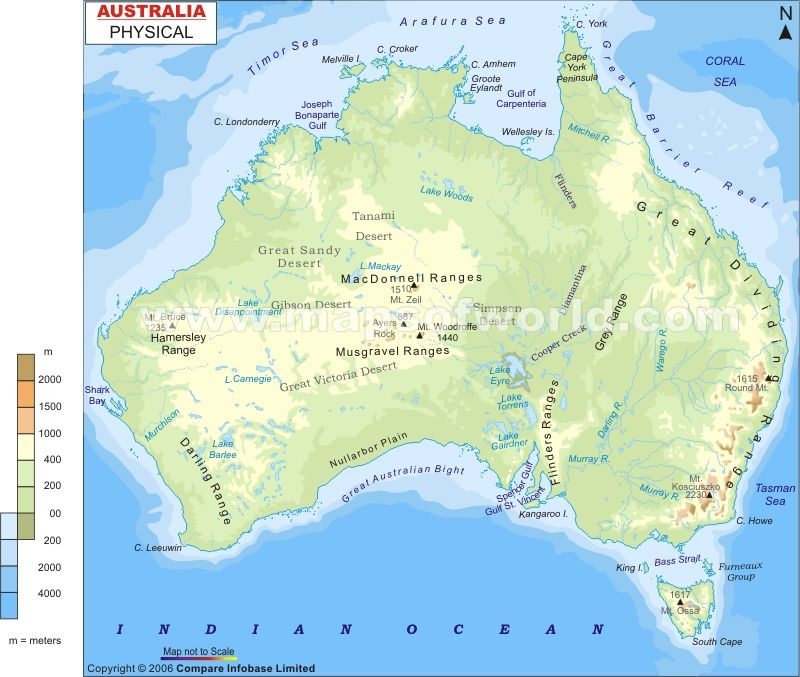 Australia Physical Map Australia Physical Map | world maps in 2019 | Australia map, Map