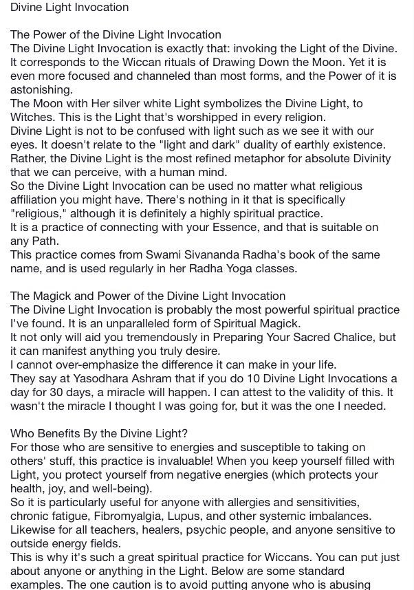 Divine Light Invocation  Pinned By The MysticS Emporium On Etsy