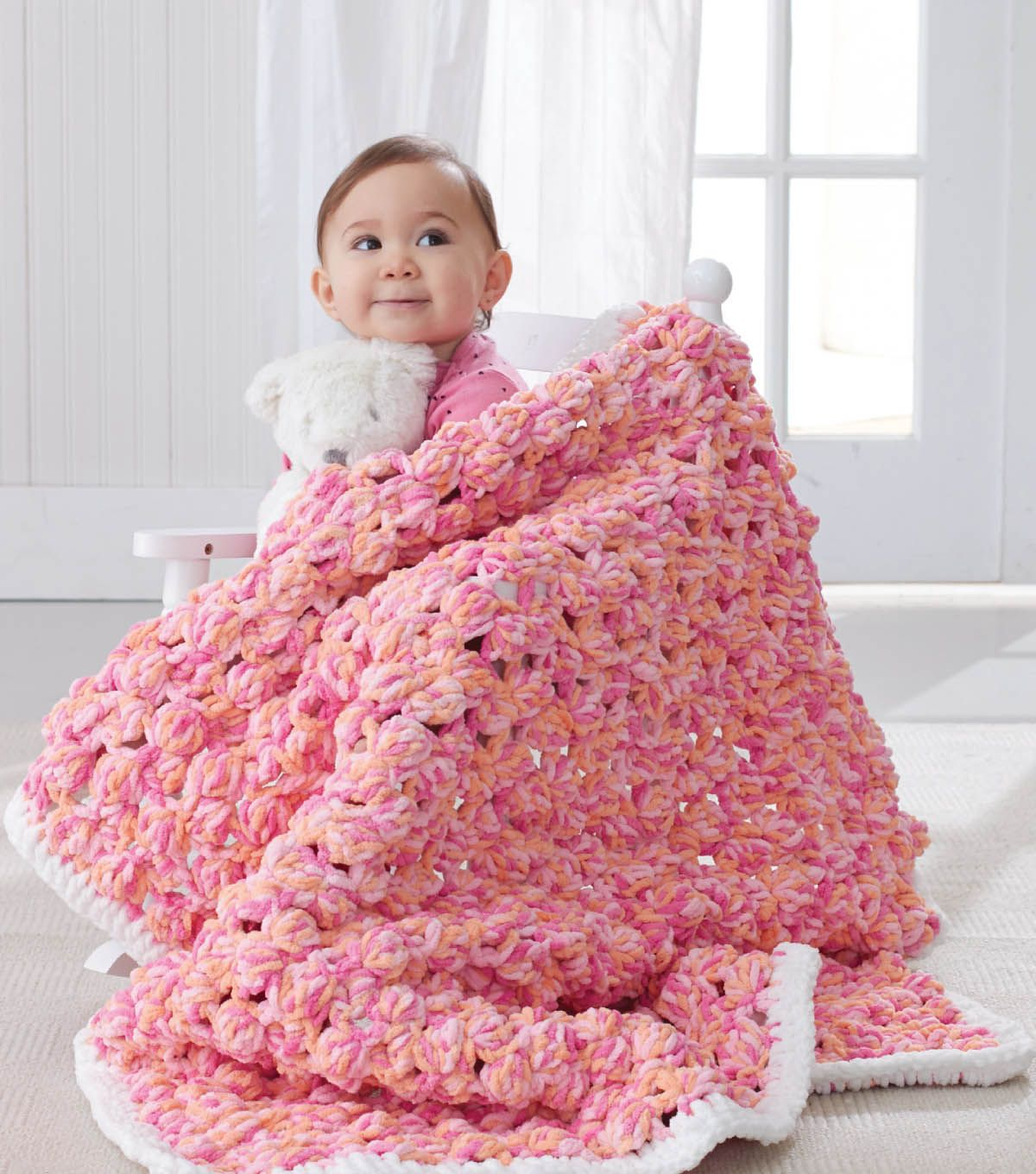 Baby Bobble Blanket Bernat® Baby Blanket™ Yarn: 4 skeins (MC) Peachy ...