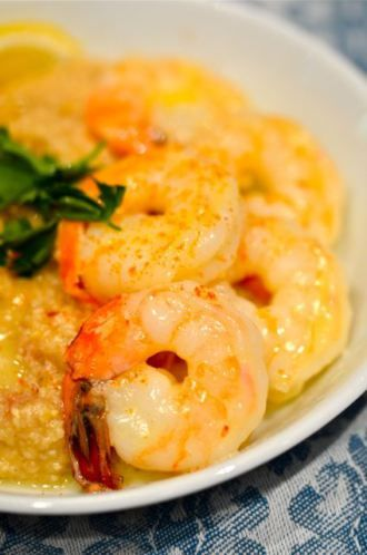 Butter Poached Shrimp With Grits.