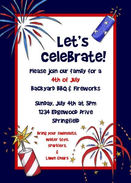 4th of july birthday invitations wording