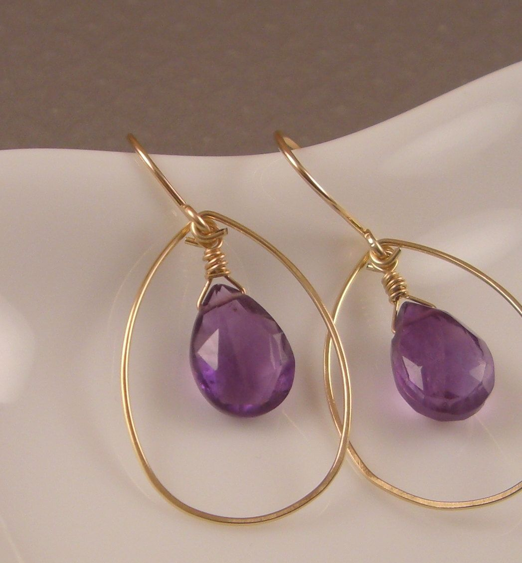 Amethyst Gold Hoop Earrings by beautifulblessing on Etsy