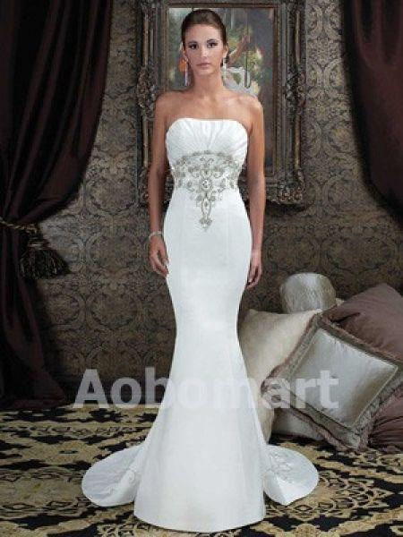 Trumpet+/+Mermaid+Sweetheart+Court+Train+Satin+Wedding+Dress+-+US$294.00