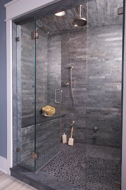 Love The Stones On The Floor Modern Shower Design Bathrooms