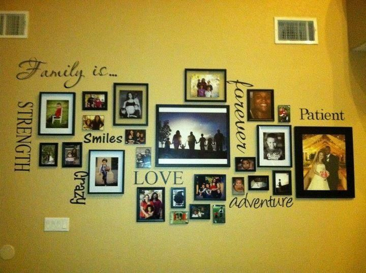 Family photo wall idea | Home | Pinterest | Photo wall, Wall ideas ...