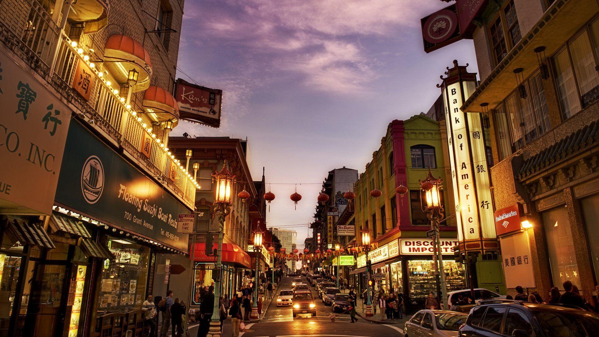 San Francisco Chinatown Dusk Stores Lights City