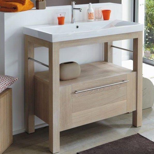 Meuble de salle de bain en chêne massif avec vasque intégrée en