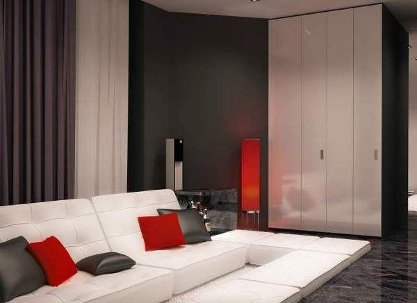 Bold Apartment Ideas, Unique Floor Design, White Living Room Furniture And  Red Decorative Pillows