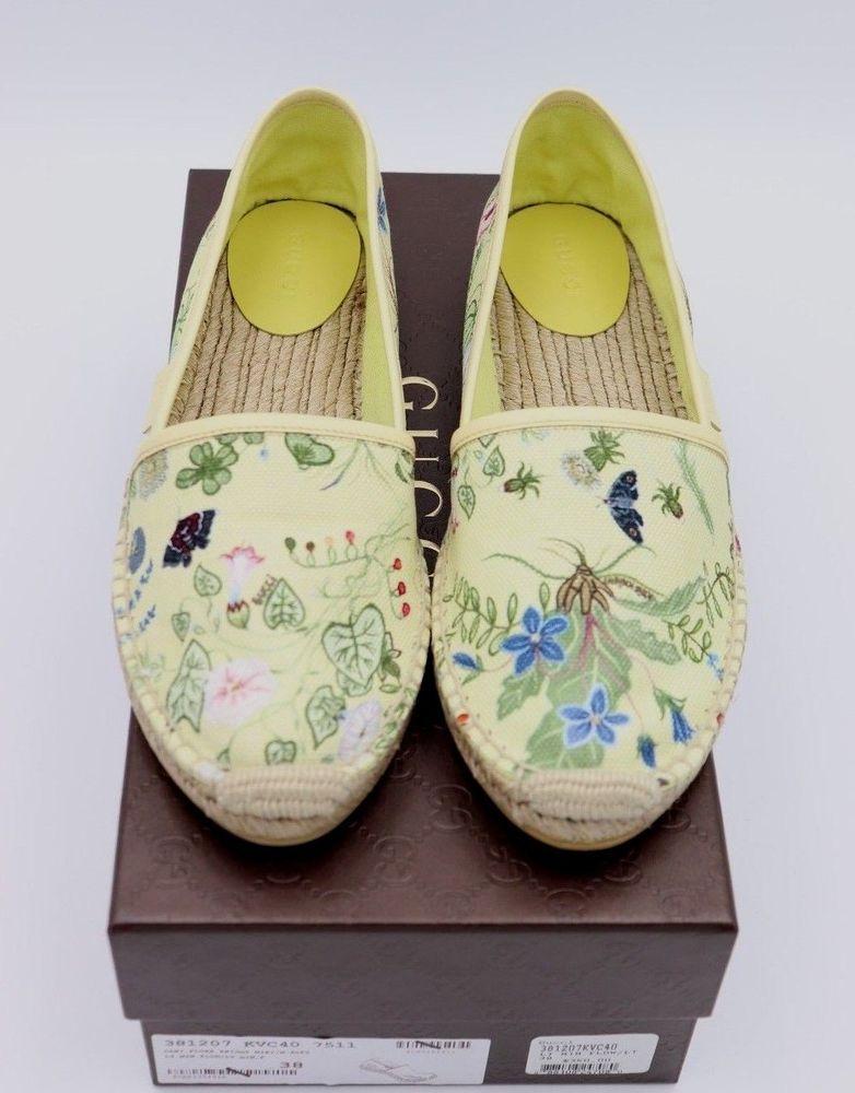 4f2540fc262 NIB Gucci Yellow Floral Knight Print Canvas Espadrille Flats New 8 38  Gucci   EspadrilleFlats