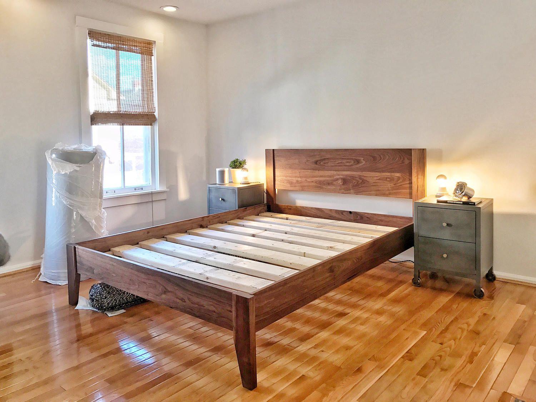 Mid Century Modern Solid Walnut Queen Size Platform Bed Frame W