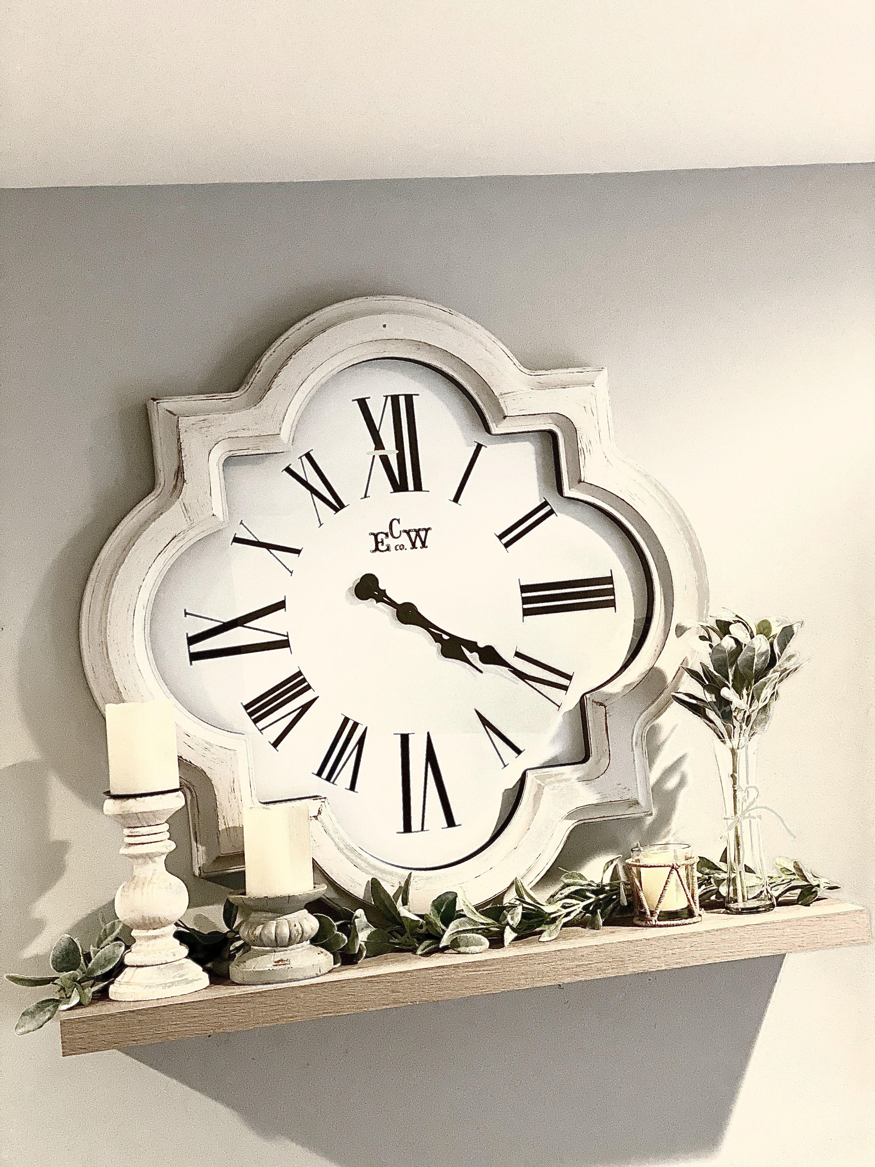 White Quatrefoil Wall Clock Hobby Lobby 1805282 In 2020 Large Wall Clock Decor Wall Clocks Living Room Large Clock Decor