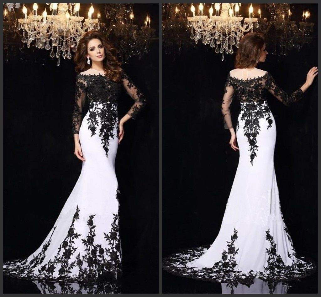 Black long sleeve wedding dresses  Nice Great White u Black Lace Longsleeve Prom Evening Party Pageant