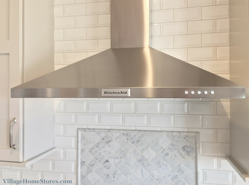 Kitchenaid Stainless Chimney Style Hood And Carrara Marble With